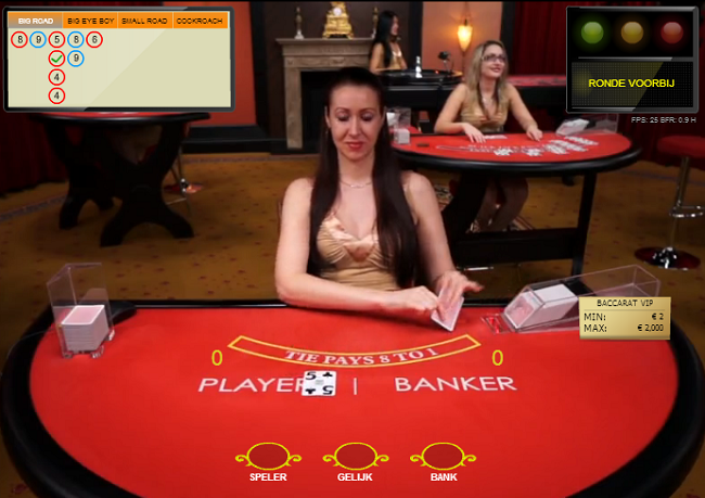 Play table game baccarat live in a casino room